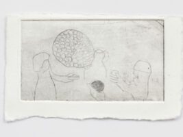 Anca Munteanu Rimnic - All holdes a ball, etching, 8x3 cm